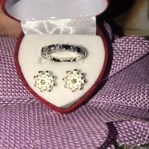 Beautiful sterling silver earrings and ring